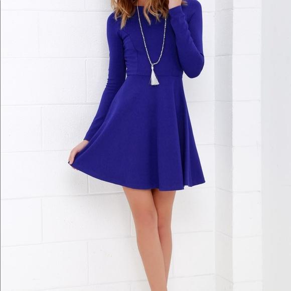 FOREVER CHIC ROYAL BLUE LONG SLEEVE DRESS